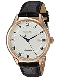 Seiko Men's 'Classic Dress' Japanese Automatic Stainless Steel and Leather Casual Watch, Color:Brown (Model: SRP772)