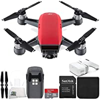 DJI Spark Portable Mini Drone Quadcopter + DJI Goggles Virtual Reality VR FPV POV Experience Starters Bundle (Lava Red)