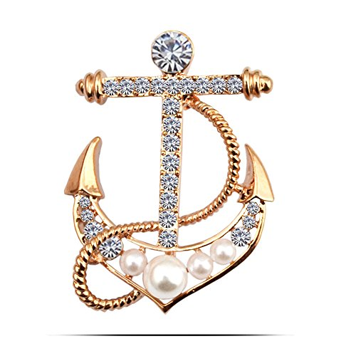 MUZHE Gold Crystal Pearl Sailor Nautical Anchor Brooch Pin for Men Womens