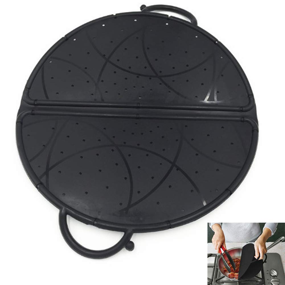 YAOBAO Premium 12'' Splatter Screen - Cooking Safety Foldable Silicone Splash Guard Pan Lid,Kitchen Washing and Draining Net(Black) 1PCS by YAOBAO