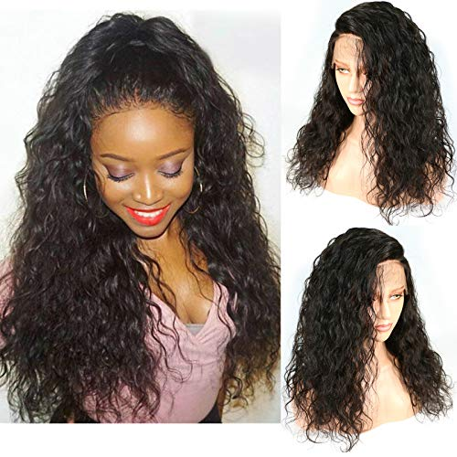 Loose Curly Wavy Lace Front Wigs 180% Density Long Synthetic Wigs with Baby Hair for Black Women(20Natural Black)