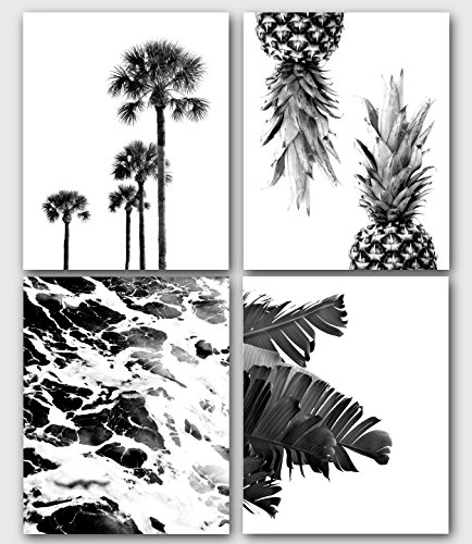 Palm Tree Photo - Tropical Prints, Set Of 4 Black And White Prints, Palm Tree, Pineapples, Ocean, Banana Leaves, 8 x 10 Inches, Unframed