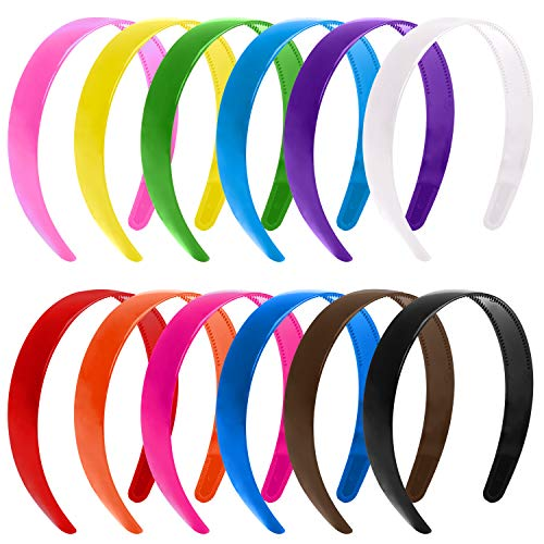 Elcoho 24 Pack Wide Plain Plastic Hair Headband with Teeth Plastic DIY Hair Bands for Girl and Woman, 1 Inch (Mixed 12 colors) ()