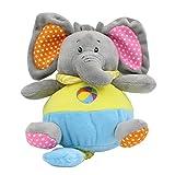 Baberoo Soft Plush Stuffed Animal Chubby Musical Toy, Elephant, 9 Inches