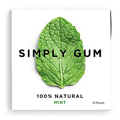 Simply Gum Mint Natural Chewing Gum - Non GMO, Vegan, 6 Packs (90 Pieces) from Simply Gum