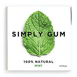Simply Gum Mint Natural Chewing Gum - Non GMO, Vegan, 6 Packs (90 Pieces)