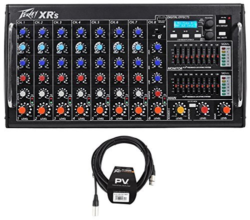 Rack Mountable Usb Connector - Package: Peavey XR S 1000 Watt Rack Mountable Powered/Active 8 Channel Mixer w/ Bluetooth/USB+AutoTune XRAT and 3-Band EQ Per Channel + Peavey PV 20' XLR Female to Male Low Z Mic Cable