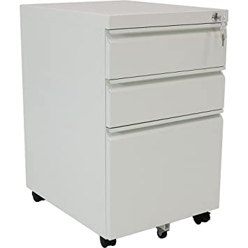CASL Brands Rolling Steel 3 Drawer Wheeled Mobile File Cabinet With Lock  For Home Or