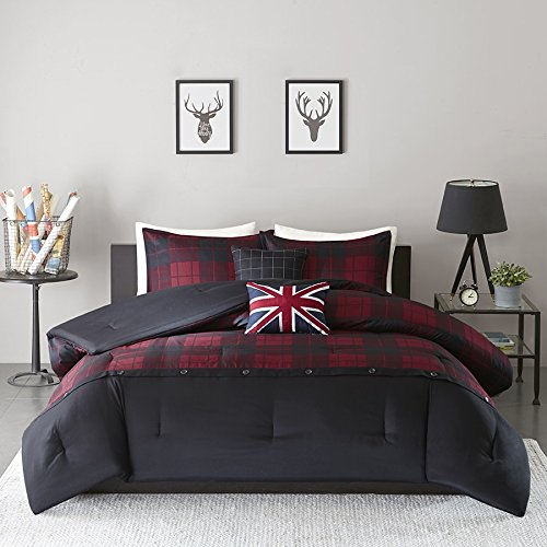 4 Piece Boys Red Black Sports Hunter Plaid Theme Comforter Twin/Twin XL Set, Beautiful Tartan Checkered Pattern, Cabin Hunting Themed, Classic Country Style, Printed Reversible Bedding, vibrant Colors by D&H