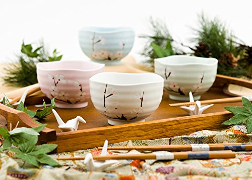 Blossom Rice Bowl - Japanese Traditional Ceramic Rice Bowl Set of 4 Cherry Blossom Sakura Assorted Colors Four Season Decorative Gift Pack Multi Purpose Attractive Design