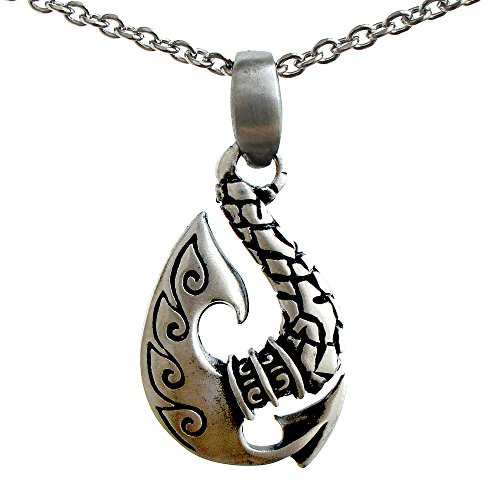 Whale tail Maori Pewter Pendant w Stainless Steel Chain Necklace … (Style #3)