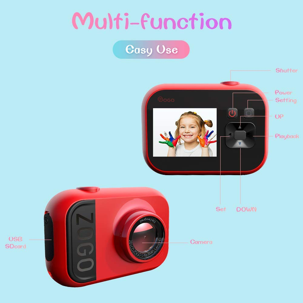 HDST Kids Camera with Built-in Memory Card Toys Gifts for 4~8 Years Old Girls, Shockproof Kids Video Camera & Camcorder with Soft Silicone Shell for Outdoor Play, Pink by HDST (Image #5)