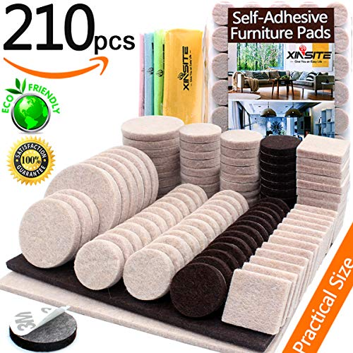 Furniture Pads Self Adhesive Felt Furniture Pads 210pcs Two Color Assorted  Size Heavy Duty Furniture Felt