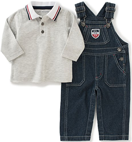 Tommy Hilfiger Baby Denim Overall with Polo Set, Gray, 6/9 (Boys Denim Overall Set)