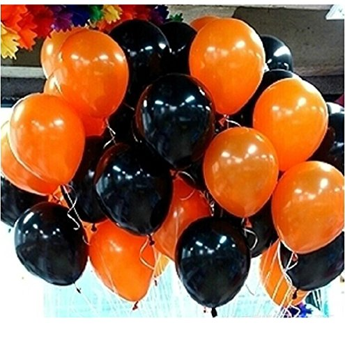 100 Premium Quality Balloons: 12 inches Black and orange latex balloons birthday party Halloween decoration and (Black And Orange Party Decorations)