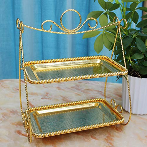 Creative Rectangular Bracket Two-layer Cake Stand European Double-decker Living Room Office Dessert Sugar Dried Fruit Plate Afternoon Tea Alloy Snack Plate Gold