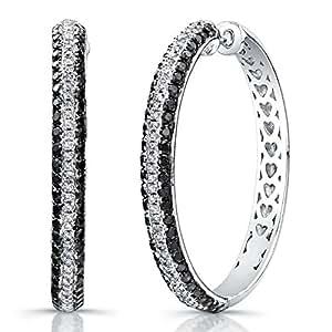Victoria Kay Sterling Silver 1/3ct White Diamond 1 1/4ct Black Diamond Hoop Earrings (J, I2-I3)