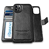 AMOVO Wallet Case for iPhone 11 Pro Max [2 in 1 Detachable] Vegan Leather Case for iPhone 11 Pro Max (6.5'') [Wristlet] [Kickstand] iPhone 11 Pro Max Folio with Box Package (11ProMax (6.5'') Black)