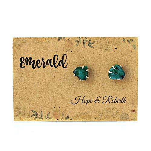(Raw Emerald Earrings Set in 925 Sterling Silver Studs)