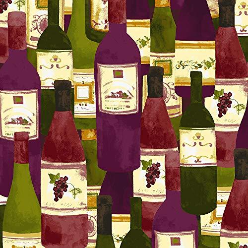 (Clothworks Sue Zipkin Rhone Valley Wine Bottle Collage)