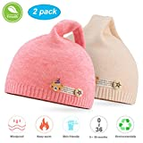 NIOFEI 2 Pack Baby Winter Beanie Hats for Unisex Baby Boys Girls Soft Cotton Cute Toddler Infant Kids Knit Beanies Hats Caps (Pink + Beige)