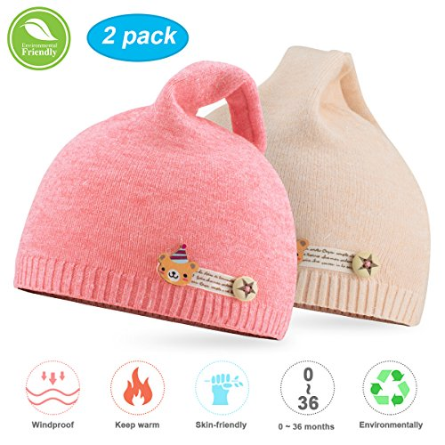 Pink Winter Beanie (NIOFEI 2 Pack Baby Winter Beanie Hats for Unisex Baby Boys Girls Soft Cotton Cute Toddler Infant Kids Knit Beanies Hats Caps (Pink + Beige))