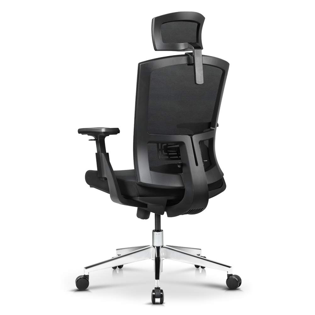 Office Chair, Ergonomic High Back Mesh Chair with Adjustable Arm Rests Computer Chair Height Adjustable and Head Support 3 Adjustable Tilt Tension Swivel Desk Chair, Black by ANGEL QUEEN