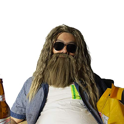 Thor Wig Long Curly Golden Brown Hair and Beard Thor Odinson Halloween Costume Wig Inspired by Avengers Endgame