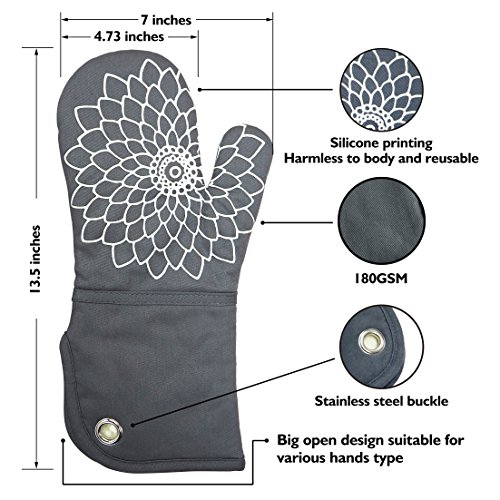 Heat Resistant Kitchen Oven Mitt With Non-Slip Silicone Printed, Set Of 2 Oven Gloves for BBQ cooking baking, Grilling, Barbecue,microwave, Machine Washable.(Gray) by DETA HOME (Image #1)