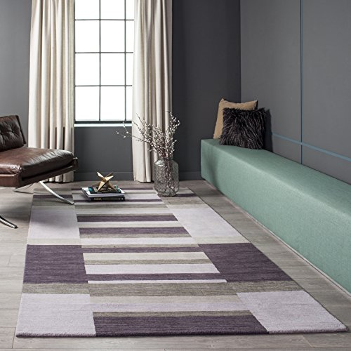 Momeni Rugs Metro Collection, 100 Wool Hand Loomed Contemporary Area Rug, 2 3 x 8 3 Runner, Lilac