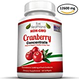 TRIPLE STRENGTH Cranberry Concentrate Supplement Pills For Urinary Tract Infection UTI. Equals 12600mg Cranberries. Promote Kidney Bladder Health For Men And Women, NON-GMO, Easy To Swallow Softgels