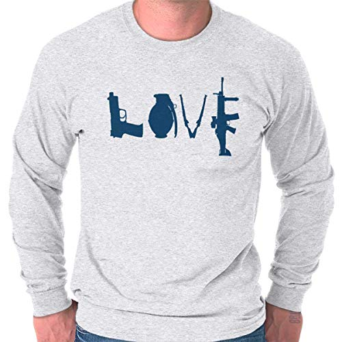 - Love Pistol Rifles Arms Owners America Long Sleeve T Shirt Ash Grey