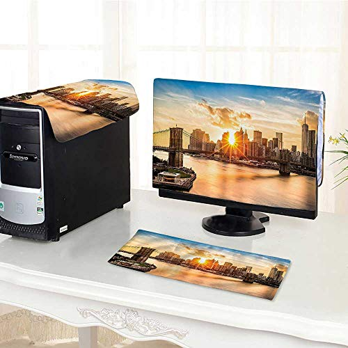 (Jiahonghome One Machine LCD Monitor Keyboard Cover Brooklyn Bridge and Lower Manhattan Hudson River Center of Art and Culture dust Cover 3 Pieces /28