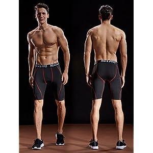 Neleus Men's 3 Pack Sport Running Compression Shorts,6012,Black (Red Stripe),Grey,Red,US M,EU L