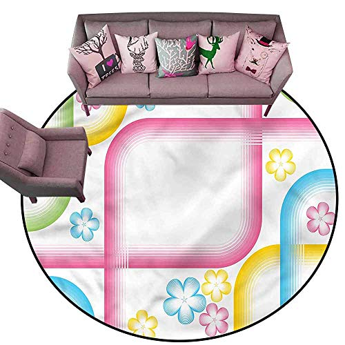 Entrance Modern Area Rugs Abstract,Pink Stripes Trippy Floral Diameter 72