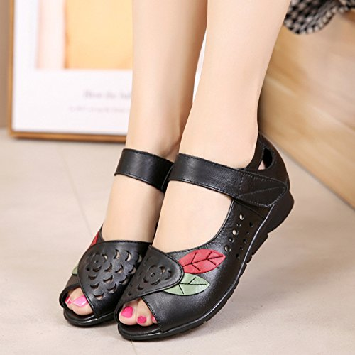 Womens Real Leather Casual Comfortable Open Toe Flat Mary Jane Sandals Ladies Summer Shoes