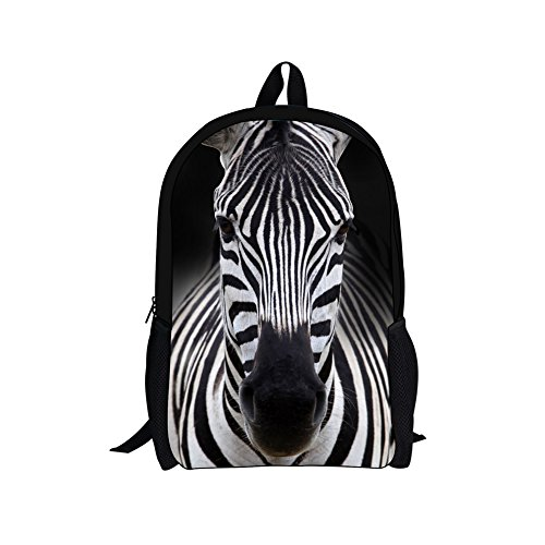 HUGS IDEA Animals School Backpack for Boys Zebra Striped Pattern Kids Students Schoolbag Outdoor Trave Daypack