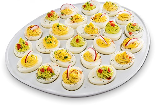Serve up a tasty treat in this Porcelain Deviled Egg Dish