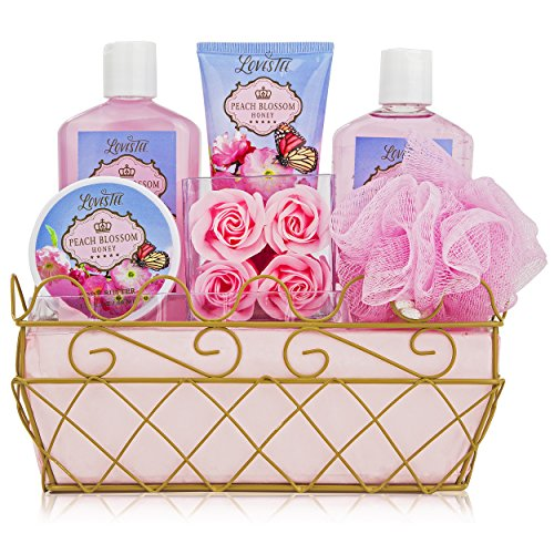 - Relaxing Bath Spa Kit For Men, Women and Teens, Gift Set Bath And Body Works-Natural Peach Blossom Aromatherapy Spa Gift Basket Includes Shower Gel, Bubble Bath, Sensual Body Lotion, Body Butter