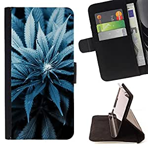 DEVIL CASE - FOR Samsung ALPHA G850 - Cannabis Weed Plant Hemp Blossom Blue - Style PU Leather Case Wallet Flip Stand Flap Closure Cover