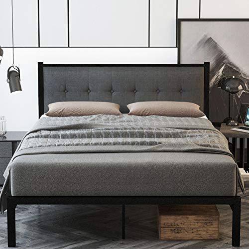 SHA CERLIN Full Size Bed Frame, Platform Bed Frame with Strong Metal Slats and Upholstered Button Tufted Square Stitch…