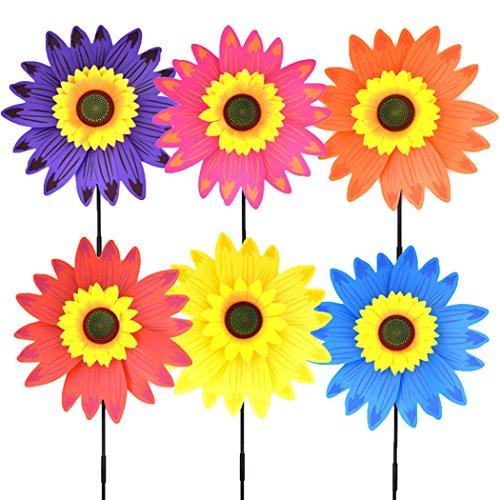 (B bangcool Sunflower Wind Spinners Lawn Pinwheels Garden Party Pinwheel Wind Spinner Windmill for Patio Lawn & Garden(6pcs))