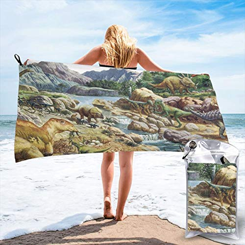(Hongao Microfiber Quick Dry Travel Towel Dinosaur Painting Beach Bath Towel Fast Drying Absorbent Towels for Camping, Backpacking, Gym, Sports, and Swimming, Includes Carry Bag 31.5