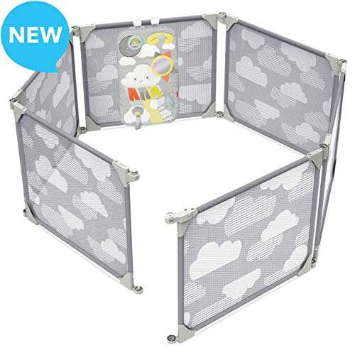 Skip Hop Baby Playpen: Expandable or Wall Mounted Play Yard with Clip-On Play Surface, Silver Lining Cloud]()