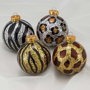 Amazon.com: ANIMAL PRINT SPARKLING GLASS BALL CHRISTMAS ...