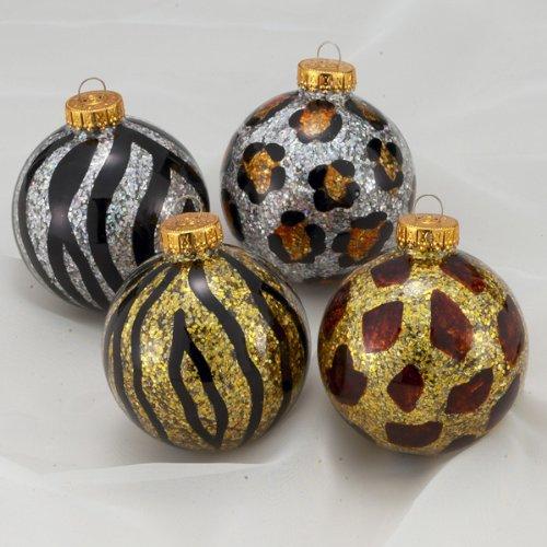 Amazon Com Animal Print Sparkling Glass Ball Christmas Ornaments Home Kitchen