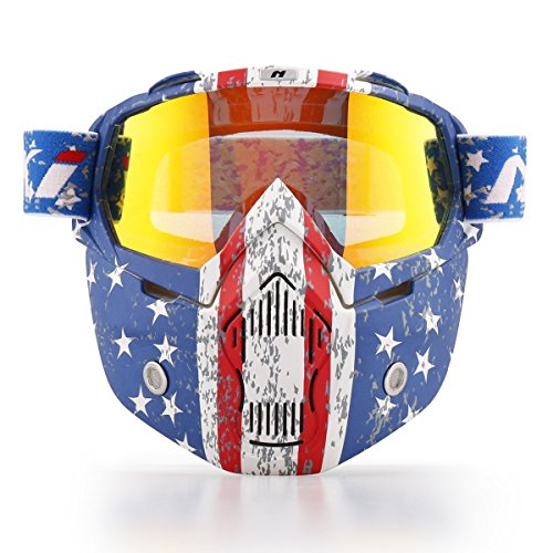 NENKI Motorcycle Goggles Mask NK-1019US For 3/4 Motorcycle helmets And Retro Harley helmet, Detachable Mask, US Flag Style | Patriot Graphic(Irridium Red Lens) (Flag Motorcycle Helmet)