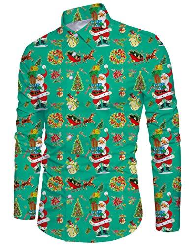 (RAISEVERN Men's Christmas Santa Snowmen Gift Tree Printed Slim Fit Long Sleeve Casual Green Button Down Dress Shirt)