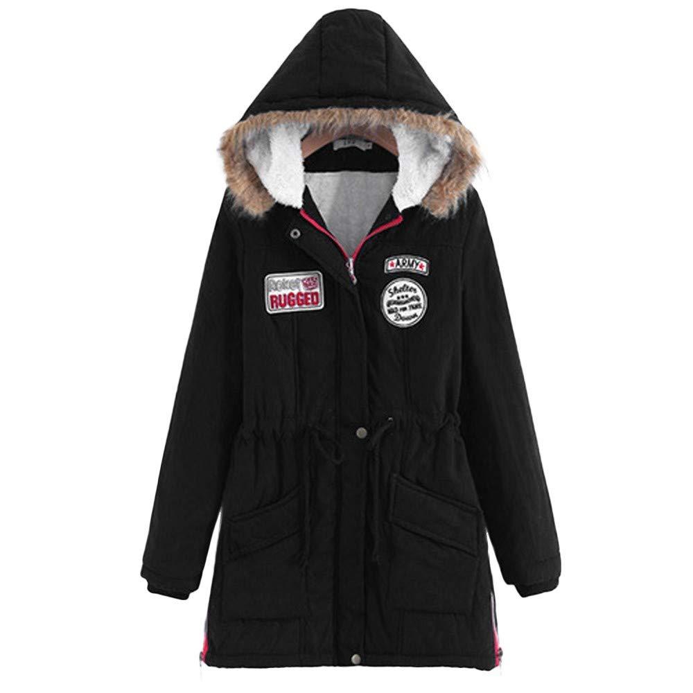 TIFENNY Winter Women's Warm Long Coat Fur Collar Long Sleeve Solid Color Hooded Jacket Parka Outwear (Black 1, L)