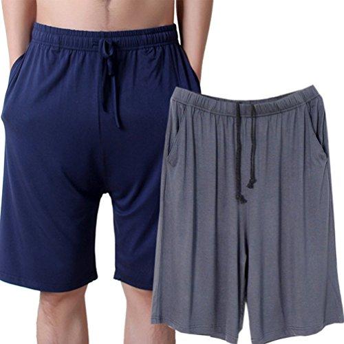 ENJOYNIGHT Men's Sleep Shorts Loose Lounge Shorts Pajama Bottom Pants (Medium, Navy + Dark Gray) - Modal Sleep Short
